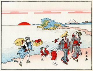 Katsukawa Shunsen Pilger in Enoshima